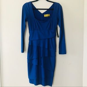 Blue long sleeve midi dress